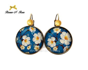 Earrings * white * nature cabochon blue and yellow bead earrings glass