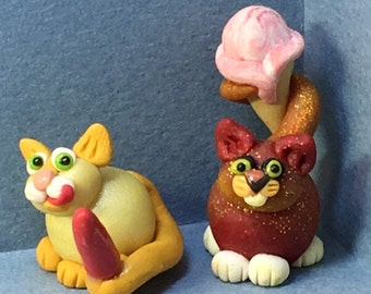 Calendar Cats, August - Popsicle or Ice Cream Cone Cats