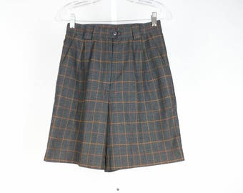Vintage Gray Orange Plaid High Waist Shorts Misses S 8 Tail 80s
