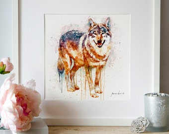 Alpha Wolf, INSTANT DOWNLOAD, Wall art, Watercolor painting, Animal art, Wolf decor, Aquarelle, Wildlife, Wolves, Printable, Wolf painting