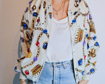 Vintage jacket, 80's bomber jacket, jewelry silky jacket, chains jacket, silky bomber, 80s bomber jacket, M/L size, baroque pearls jacket,