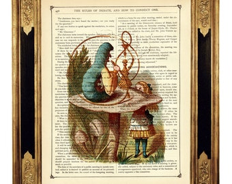 Alice in Wonderland Print smoking Caterpillar Poster Mushroom - Vintage Victorian Book Page Art Print Steampunk color