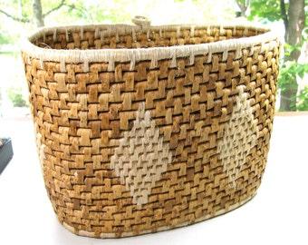 """Vintage basket, oval basket, coiled basket, 9"""" high, 12"""" long, 6"""" wide, rustic basket, natural fiber"""