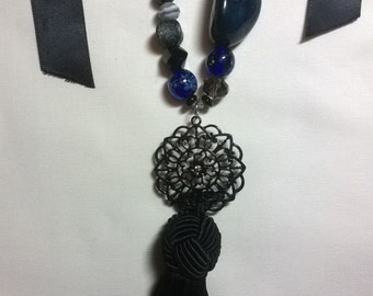 Black and Blue Statement Tie Necklace with Tassel