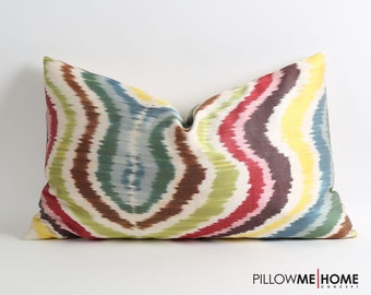 Uzbek silk ikat pillow cover 16x26 handwoven silk pillow