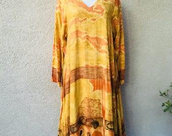 Vintage 1980s 1990s tons terre jaune Art déco tente flowy évasée robe taille S M