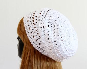 Women's white summer slouchy beanie, crochet lace tam beret, boho hat, festival beanie, casual hat, bohemian style, 100% cotton, sun hat