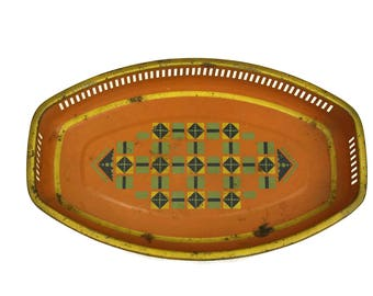 Art Deco Tray & Catch All Coin Dish. Orange Geometric Home Decor. Vintage Litho Tin Jewelry Holder.