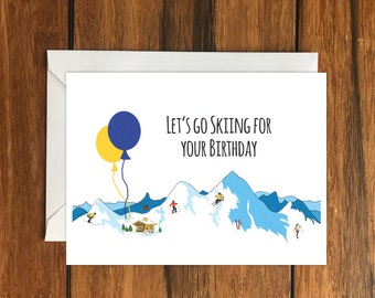 Let's go Skiing for your Birthday Blank greeting card, Holiday Card, Gift Idea A6