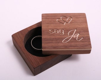 Ring box, ring box, ring box, ring box, wooden ring case for engagement, marriage & wedding (say yes)