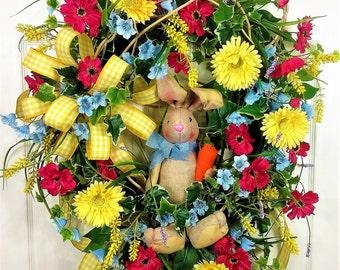 Easter Bunny Wreath, Spring Bunny Wreath, Spring Door Decor, Easter Door Decor, Burlap Bunny, Easter Decor, Easter Floral Decor