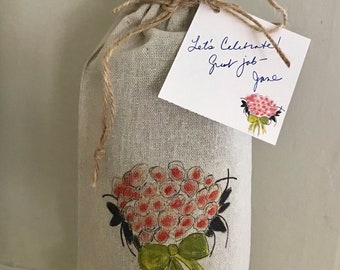 Wine Bag, Congratulations, Floral Bouquet, Gift Card, Event Gift, Wedding Favor, Coastal,  Wine Gift, Reusable Bag, Engagement, Special Day