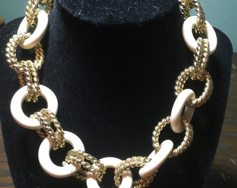 Gold and White circle necklace