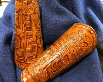 Ornate Leather Full Bracers of the Malinalco by Otherworld Sundries