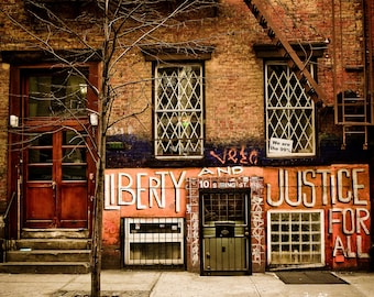 Liberty and Justice for All - Spring Street, original NYC photograph / print. Vintage look, Gay Pride, Occupy Wall Street