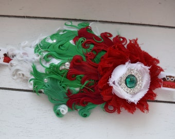 Handcrafted Fancy Christmas Owl Headband - Ombre Feather Headband - Christmas Feather Headband - Red Emerald Green and White Headband - Bows