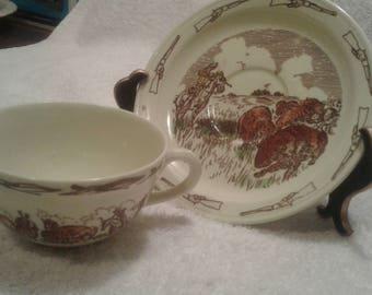 Vernon Kilns Western Tea cup & Saucer
