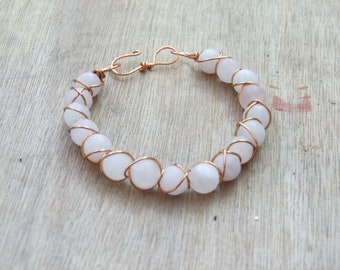 Frosted Rose Quartz Bangle with Copper wire