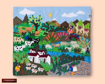 "Wall Hanging Quilt 17.7""x19.7""- Arpillera art work tapestrie - 3D peruvian textile artwork - Embroidered appliques of fabric - Peru textiles"
