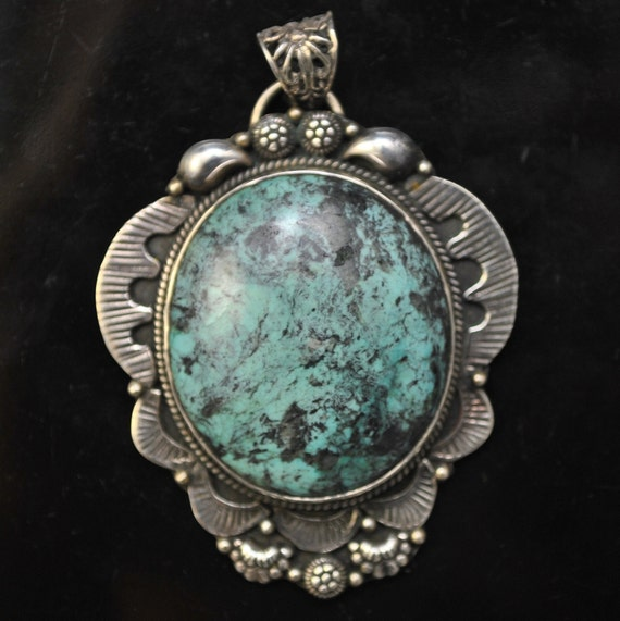 Sterling Silver Tibetan Turquoise Pendant Native American Style #9889