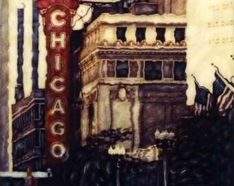 Chicago Theater SX-70 Manipulation - 8x8 Fine Art Photograph