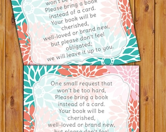 Floral Baby Shower Book Card In Lieu of card Shower Invitation Inserts Instead of a card Coral Teal Flowers Printable PDF--Instant Download