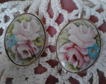 Vintage Porcelain Rose Earrings ECS