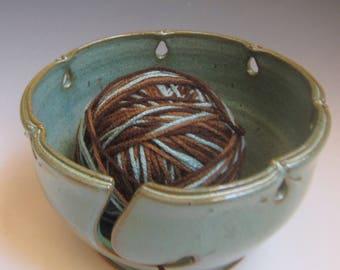 Knitting Bowl Yarn Bowl  sea foam blue green  knitting bowl