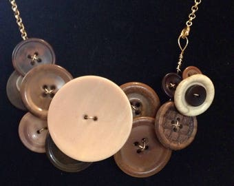 Brown and beige recycled vintage and repurposed button necklace.