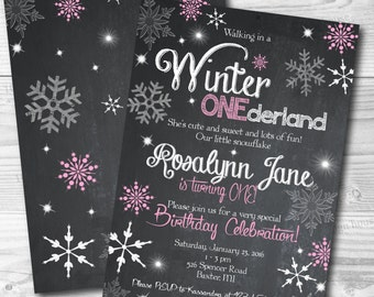 Winter Onederland Invitation (front and back design) Printable - Winter Onederland Birthday Party - Winter Onederland Baby Shower Invitation