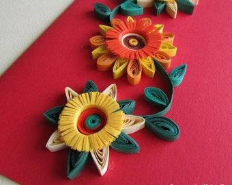 Quilled Flower Card, Greeting Card, Blank Birthday Card, Romantic Thank you card, Thinking of You Card