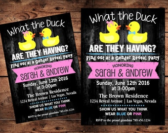What the Duck Gender Reveal Invitation - Rubber Duck - Team Pink or Blue - Digital