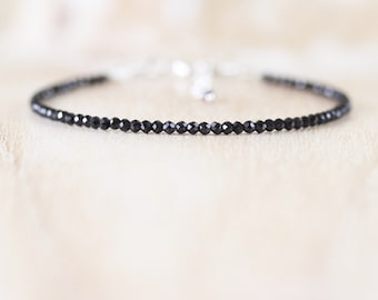 Black Spinel Dainty Beaded Bracelet. Sterling Silver, Rose, Gold Filled. Delicate Tiny Gemstone Stacking Bracelet. Womans Layering Jewelry