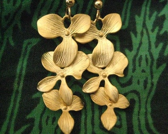 Golden Cascading Orchids, Orchid Earrings, Flower Earrings, Tropical Flower Earrings, Gold Earrings