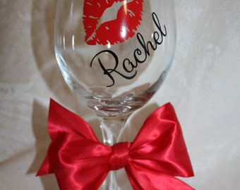 Personalized Kiss wine glass. Bachelorette Party. Showers. Birthday gifts! (item #1-1-K)