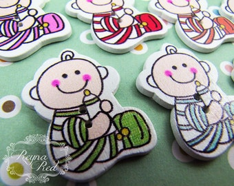 Cute Baby Printed 2-Hole Wooden Buttons, nursery buttons, wood button, decorative buttons, sewing, hair clip supply - reynared