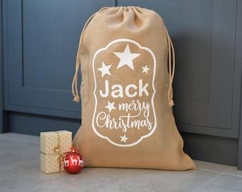 Personalised Star Merry Christmas Hessian Sack