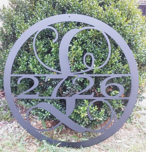 15 INCH Circle Monogram with House Numbers, Metal Wall Art, 15 Inch Round Monogram Metal Sign, Custom Metal Sign With House Number