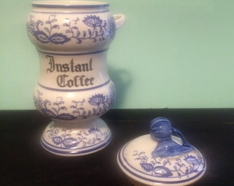 Blue Onion Instant Coffee Porcelain Blue and White Container with Spoon Holder