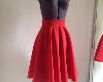 Red Full Circle Skirt, Knee length Woman Skirt, Midi Cotton skirt, Red Basic Skirt