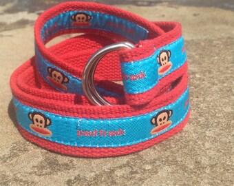Vintage Paul Frank Red and Blue Monkey Fabric Belt / Medium