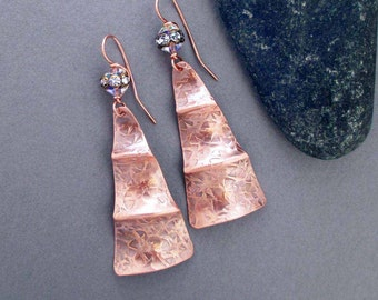 On Sale : Hammered Copper Earrings with Sparkly Crystals Modern Art Jewelry 7th Anniversary Copper Anniversary Wearable Art Jewelry Handmade
