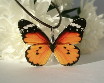 Monarch Butterfly Pendant | Orange and Black Butterfly Polymer Clay Necklace