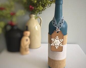 Snowflake Winter Decor/Paw Print Ribbon/Hanukkah Decor/Blue Christmas/Pet Lover Gift/Dog Owner Gift/Cat Owner Gift/Recycled Wine Bottle
