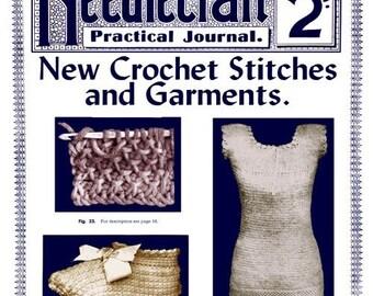 Needlecraft Practical Journal (61) c.1907 Tunisian Crochet Stitches