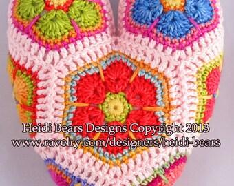 Hippy Hearts African Flower Crochet pattern