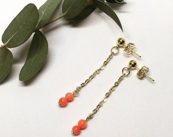 Coral gold plated earrings