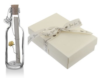 Personalised Maid of Honour Gift | Message in a Bottle with Gift Box | 10 Rose Colours Available