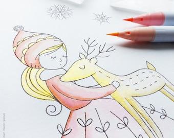 Timbre ensemble «Golden Deer» - fabrication de cartes, album de papier craft, DIY, clair