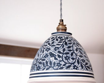 Lamp, Hanging Pendant, Dark Blue and White with Birds and Flowers on a Vintage look Black and White Cord